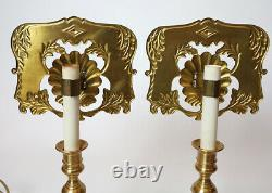 Set of 2-Vintage Art Deco Nautical Clam Seashell Brass Table Lamps 16 high