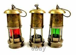 Set of 3 Antique Brass Minor Lamp Vintage Nautical Ship Boat Light Lantern Décor