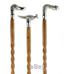 Set of 3 Brass Designer Head Handle Spiral Wooden Walking Stick Vintage Cane