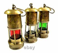 Set of 3 Brass Minor Oil Lamp Antique Nautical Ship Lantern Maritime Boat Light