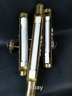 Set of 3 Vintage Brass Picture Lights Strip / Tube Wall Sconces Lamps VGC