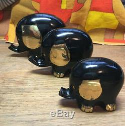 Set of 3 Vintage Mid Century Modern Brass Elephants Sculpture Figurine 50s WOW