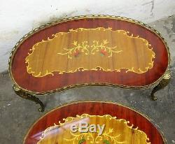Set of 3 Vintage Nesting Coffee Side Tables Brass Marquetry Kidney Shape HTF