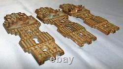 Set of 3 Vtg Antique Victorian Eastlake Brass Door Knob Back Plate Locks Marked