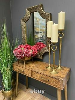 Set of 3Brass Ef fect Tall Candle Holder Home Decoration Christmas table