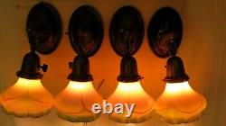 Set of 4 Antique Brass Wall Sconce Lights with Steuben Pulled Feather Art Glass