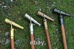 Set of 4 Brass Designer Hidden Spyglass Telescope WithWooden Walking Stick cane