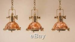 Set of 4 Copper and Brass Nautical Pendant Lights