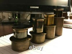 Set of 4 Fine Antique Microscope Eyepieces in Brass 33.3mm Diameter Fitting
