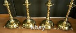 Set of 4 large neogothic brass high mass candle sticks ciborium monstrance