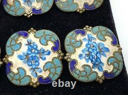 Set of 6 Antique French Champleve Enamel Hand Painted Square Floral Buttons