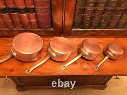 Set of 7 Vintage Antique Copper Saucepans with Brass Riveted Handles