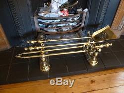 Set of Antique Brass Fire Irons on Stands Fire Companion, Tongue, Poker, Shovel