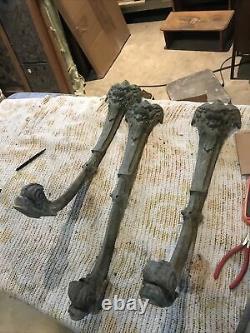 Set of three antique Bronze Brass heavy lion face leg