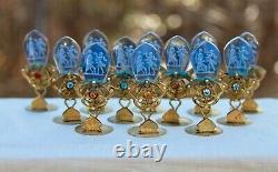 Set of12 Antique Czech Moser Glass Intaglio Jeweled Brass Place Card Holders