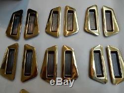 Shoji Screens or Sliding Door Handles 1950s era Brass plated vintage set of 12 z