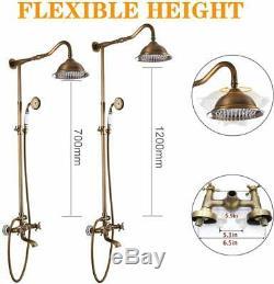 Shower Faucet Set Antique Brass Shower System 8-INCH Rainfall Shower Tub Spout