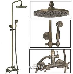 Shower Tap Antique Brass Double Handle Wall Mount Rain Shower Faucet Set B11F