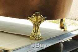 Solid Copper 67 Antique Style Rolled Rim Slipper Clawfoot Bathtub Set Brass Ft