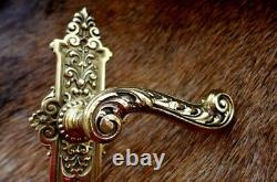 Solid brass door handle with decorative covers project replacement new set G -11