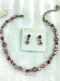 Sorrelli Sweet heart PINK Necklace & Earrings Set Antique silver tone