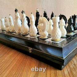 Soviet chess set Russian Vintage carbolite brass USSR antique chessman