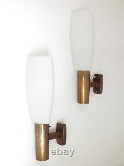 Stilnovo design years'50 Italy production set of two wall lamps in brass glass