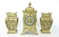 Superb Antique Solid Gilt Brass Mantel Clock & Garniture Set Japy Freres 19th C