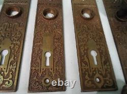 TWO Antique R&E Brass Door Knob Sets Oval Knobs Mortise Locks with Keys #823
