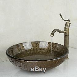 Tempered Glass Hand Paint Vessel Sink Basin+ Retro Faucet Bathroom Tap Combo Set