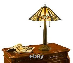 Tiffany Style Hex Mission Lamp Set Handcrafted 16 Shade