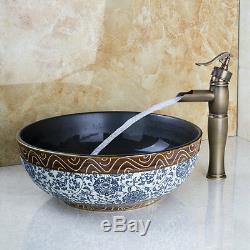 Traditional Bathroom Hand Made Ceramic Round Vessel Sink & Brass Mixer Tap Set