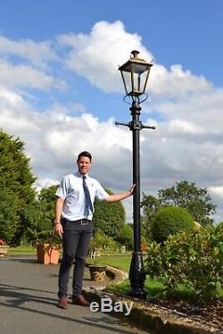 USED Ex-Display 3.25m Antique Brass Dorchester Garden Lamp Post and Lantern Set
