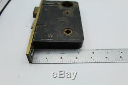 VTG Antique Corbin Entry Door Lock Set Brass Glass Knob Mortise Art Deco Escutch