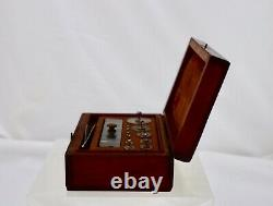 Victorian Antique Boxed Set Of Brass Balance Chemist Scale Weights