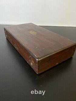 Victorian Antique Brass Medical Enema Syringe Set in Mahogany Box