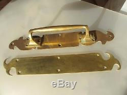 Victorian Brass Door Handles Set Pull & Finger Plate Art Nouveau Antique Old 16
