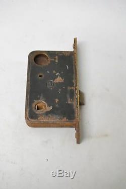 Victorian Yale Heavy Cast Brass Door Plates Knob & Lock Set