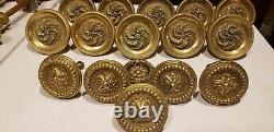 Vintage 15 piece set round Solid HEAVY ornate decorative Brass Large Door Handle