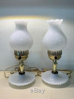 Vintage 2in1 Set of 2 Hobnail Milk Glass Table Lamps Or Wall Sconces Tall Rare