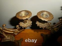 Vintage 3 taper Brass Candelabra set of 2 Perfect Mantle Decor Ornate Decor