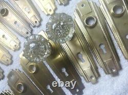 Vintage Antique 4 Pc Brass Crystal Art Deco Door Hardware Set 71819 A