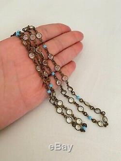 Vintage Antique Art Deco Crystal Turquoise Glass Open Back Bezel Set Necklace