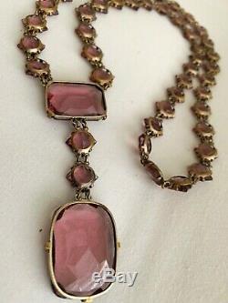 Vintage Antique Art Deco Czech Amethyst Glass Paste Open Back Bezel Set Necklace