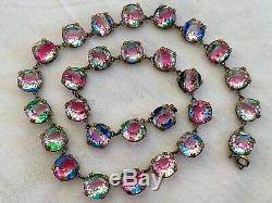 Vintage Antique Art Deco Czech Iris Crystal Paste Open Back Bezel Set Necklace