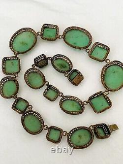 Vintage Antique Art Deco France Depose Jade Glass Bezel Set Open Back Necklace