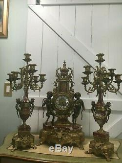 Vintage Antique Brass Cherub Marble Mantle Clock & Candelabra Set