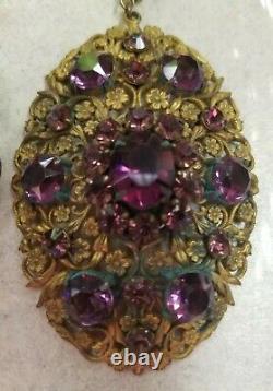Vintage/Antique Czech Amethyst Glass Necklace Brass Ornate Gorgeous Rare