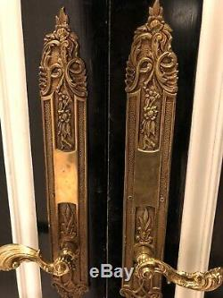 Vintage Antique Set Of 2 Brass Knobs Floral Long Handle Dumy Style 2 Set Avail