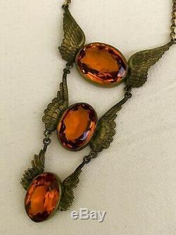 Vintage Art Deco Angel Wing Paste Glass Bezel Set Open Back Arts Craft Necklace